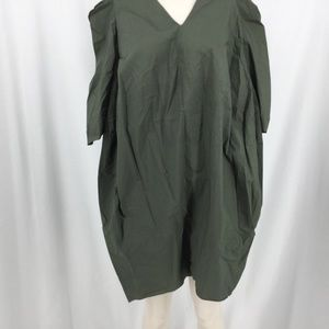 (HB1) MARNI -  OLIVE GREEN OVERSIZED DRESS